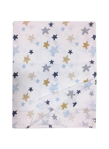 Moje Moje Müslin Çok Amaçlı Örtü 100X12 Cm Yıldız Desen Mavi